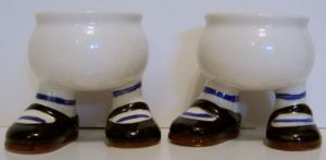 Carlton Ware Lustre Pottery  Walking Ware Eggcup - Black Shoes x 2 - SOLD